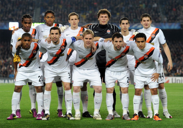 BARCELONA, SPAIN - APRIL 06:  Shakhtar Donetsk players pose for a team picture prior to the start of the UEFA Champions League quarter final first leg match between Barcelona and Shakhtar Donetsk at the Camp Nou stadium on April 6, 2011 in Barcelona, Spai