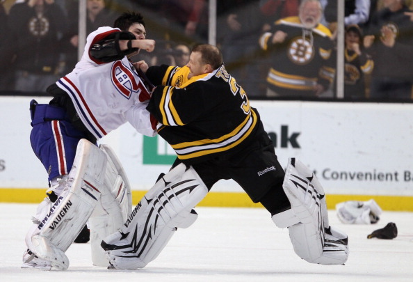 BOSTON, MA - FEBRUARY 09:  Tim Thomas #30 of the Boston Bruins and Carey Price #31 of the Montreal Canadiens fight in the second period on February 9, 2011 at the TD Garden in Boston, Massachusetts.  (Photo by Elsa/Getty Images)