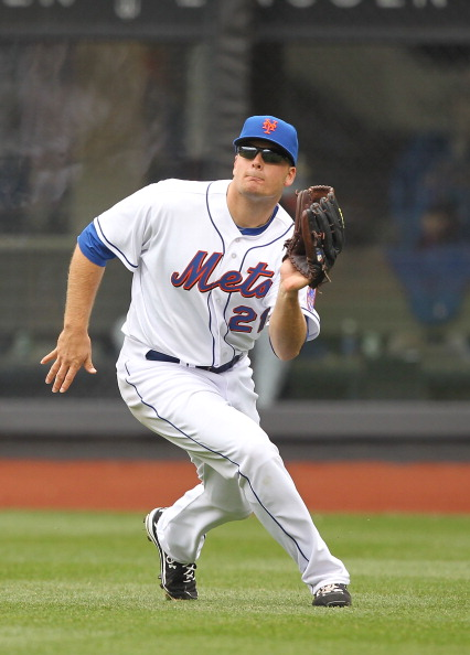 NEW YORK, NY - APRIL 10:  Lucas Duda #21 of the New York Mets  in action against the Washington Nationals during their game on April 10, 2011 at Citi Field in the Flushing neighborhood of the Queens borough of New York City.  (Photo by Al Bello/Getty Imag