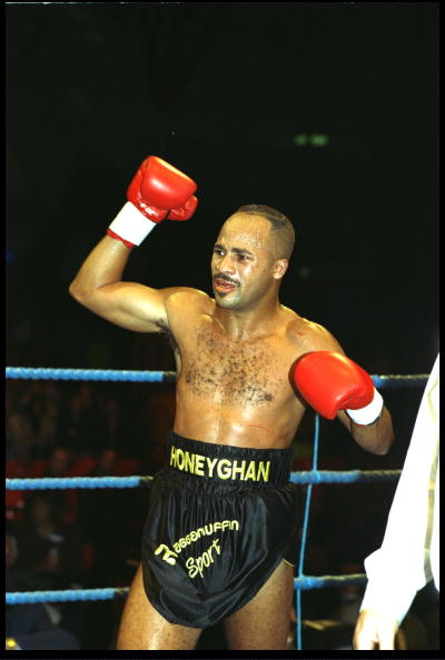 26 FEB 1994:  LLOYD HONEYGHAN RAISES HIS RIGHT FIST IN JUBILATION AFTER WINNING HIS FIGHT AGAINST KEVIN ADAMSON. HONEYGHAN WON THE FIGHT BY TECHNICAL KNOCKOUT IN  THE SIXTH ROUND.