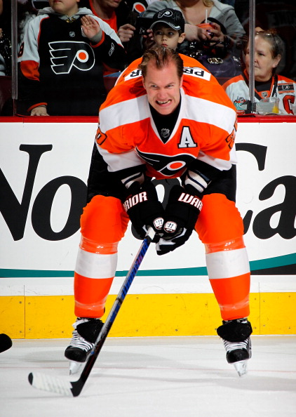 PHILADELPHIA, PA - MARCH 08:  Chris Pronger #20 of the Philadelphia Flyers stretches during warmups before an NHL hockey game against the Edmonton Oilers at the Wells Fargo Center on March 8, 2011 in Philadelphia, Pennsylvania.  (Photo by Paul Bereswill/G