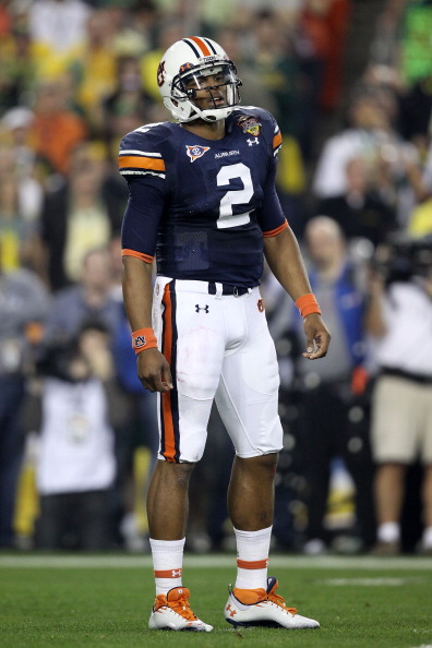 GLENDALE, AZ - JANUARY 10:  Cameron Newton #2 of the Auburn Tigers reacts during their game against the Oregon Ducks during the Tostitos BCS National Championship Game at University of Phoenix Stadium on January 10, 2011 in Glendale, Arizona.  (Photo by C