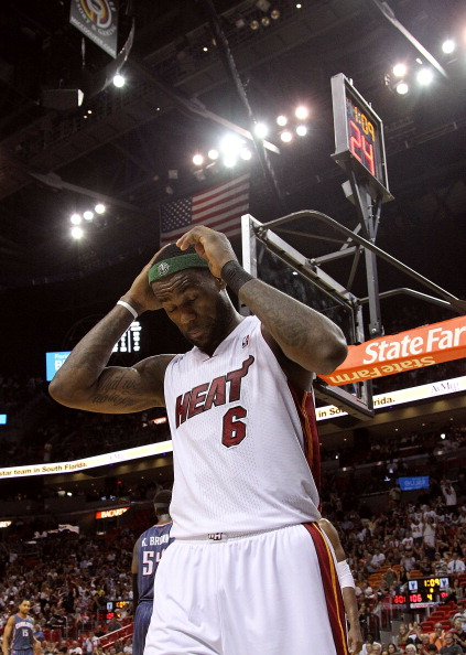 MIAMI, FL - APRIL 08:  LeBron James #6 of the Miami Heat reacts to a foul call during a game against the Charlotte Bobcats at American Airlines Arena on April 8, 2011 in Miami, Florida. NOTE TO USER: User expressly acknowledges and agrees that, by downloa