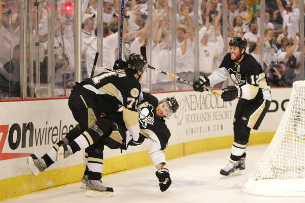 PITTSBURGH - APRIL 25: Petr Sykora #17 of the Pittsburgh Penguins celebrates his third period goal against the New York Rangers with teammates Evgeni Malkin #71 and Ryan Malone #12 during game one of the Eastern Conference Semifinals of the 2008 NHL Stanl