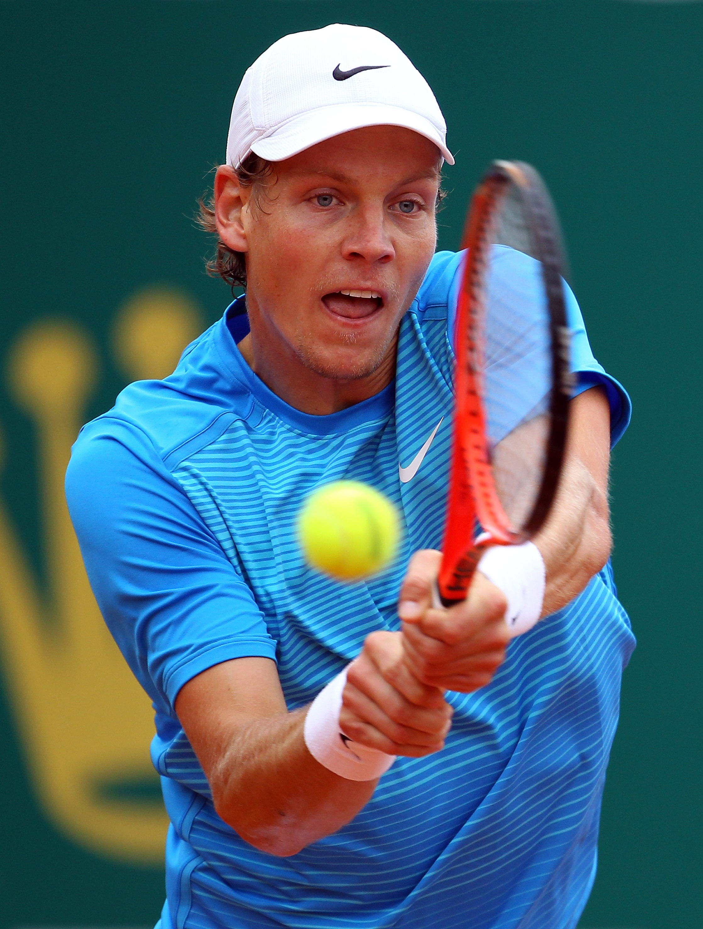 MONACO - APRIL 14:  Tomas Berdych of Czech Republic in action against Ivan Ljubicic of Croatia during Day Five of the ATP Masters Series Tennis at the Monte Carlo Country Club on April 14, 2011 in Monte Carlo, Monaco.  (Photo by Julian Finney/Getty Images