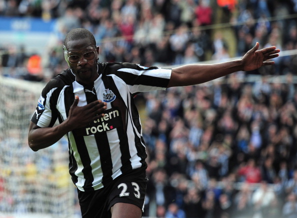 NEWCASTLE UPON TYNE, ENGLAND - APRIL 02:  Shola Ameobi of Newcastle United celebrates after scoring during the Barclays Premier League match between Newcastle United and Wolverhampton Wanderers at St James' Park on April 2, 2011 in Newcastle upon Tyne, En