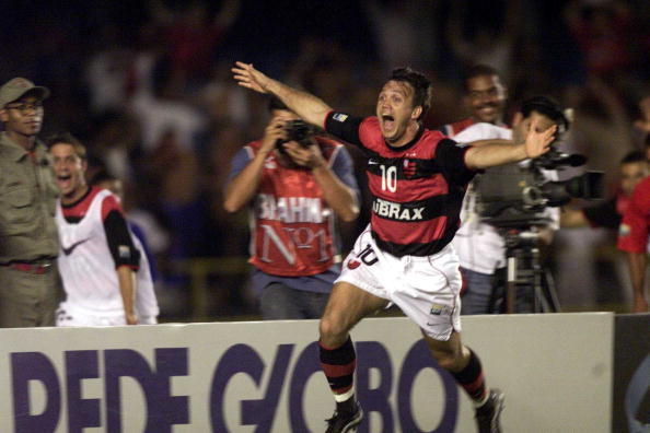 27 Oct 2000:  Petkovic of Flamengo celebrates during the Flamengo  v Vasco de Gama Joao Havelange Cup match played at the Maracana Stadium, Rio de Janeiro. Mandatory Credit: Allsport/ALLSPORT