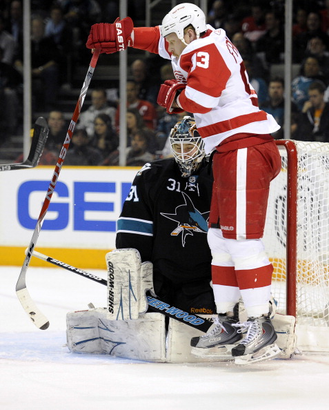 SAN JOSE, CA - MARCH 3: Johan Franzen #93 of the Detroit Red Wings is called for being in the crease and the Red Wings have a goal taken away from them against the San Jose Sharks in the first period of an NHL hockey game at the HP Pavilion on March 3, 20