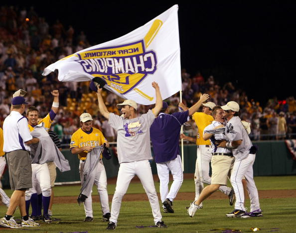 OMAHA, NE - JUNE 24:  The Louisiana State University Tigers celebrate the win over Texas Longhorns during Game 3 of the 2009 NCAA College World Series at Rosenblatt Stadium on June 24, 2009 in Omaha, Nebraska. The Tigers defeated the Longhorns 11-4 to win