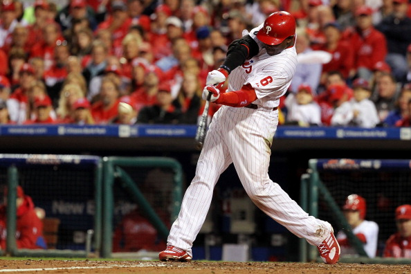 PHILADELPHIA - OCTOBER 23:  Ryan Howard #6 of the Philadelphia Phillies hits a double in fifth inning against the San Francisco Giants in Game Six of the NLCS during the 2010 MLB Playoffs at Citizens Bank Park on October 23, 2010 in Philadelphia, Pennsylv