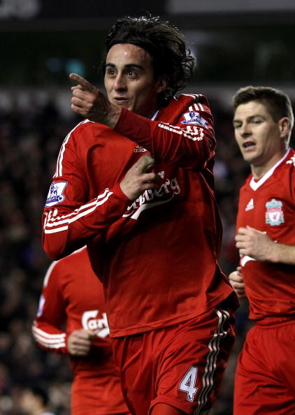 LIVERPOOL, ENGLAND - MARCH 15:  Alberto Aquilani of Liverpool celebrates scoring his team's third goal  during the Barclays Premier League match between Liverpool and Portsmouth at Anfield on March 15, 2010 in Liverpool, England.  (Photo by Alex Livesey/G