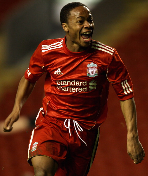 LIVERPOOL, ENGLAND - FEBRUARY 14:  Raheem Sterling of Liverpool celebrates after scoring his first goal during the FA Youth Cup match between Liverpool and Southend United at Anfield on February 14, 2011 in Liverpool, England.  (Photo by Clive Brunskill/G