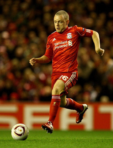 LIVERPOOL, ENGLAND - FEBRUARY 24:  Jay Spearing of Liverpool in action during the UEFA Europa League Round of 32 2nd leg match beteween Liverpool and Sparta Prague at Anfield on February 24, 2011 in Liverpool, England.  (Photo by Richard Heathcote/Getty I