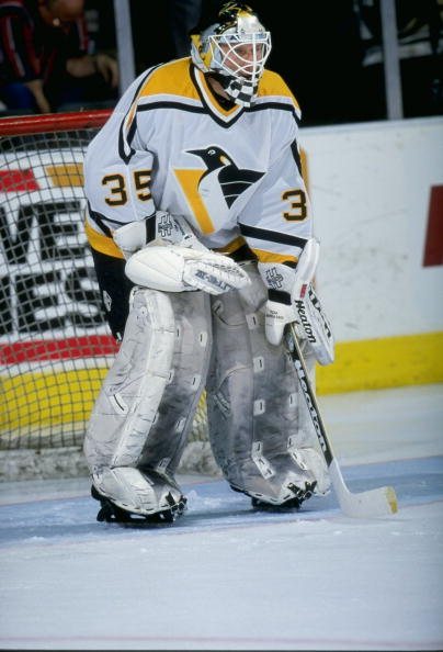 22 Mar 1998:  Goaltender Tom Barrasso of the Pittsburgh Penguins in action during a game against the Dallas Stars at the Reunion Arena in Dallas, Texas. The Stars and Penguins tied 0-0. Mandatory Credit: Stephen Dunn  /Allsport