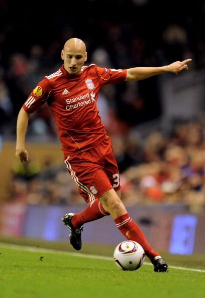 LIVERPOOL, ENGLAND - DECEMBER 15:  Jonjo Shelvey of Liverpool runs with the ball during the UEFA Europa League Group K match between Liverpool and FC Utrecht at Anfield on December 15, 2010 in Liverpool, England.  (Photo by Clint Hughes/Getty Images)