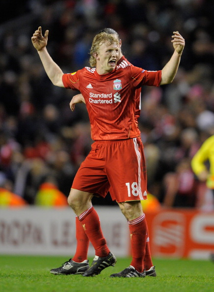 LIVERPOOL, ENGLAND - MARCH 17:  Dirk Kuyt of Liverpool reacts after defeat in the UEFA Europa League Round of 16 second leg match between Liverpool and SC Braga at Anfield on March 17, 2011 in Liverpool, England.  (Photo by Michael Regan/Getty Images)
