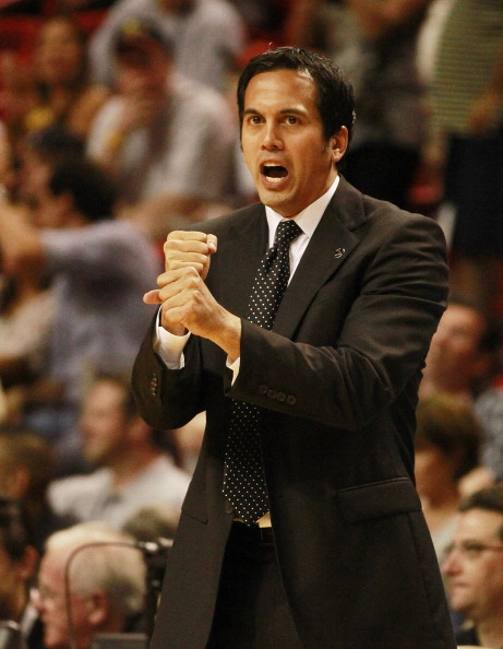 MIAMI, FL - MARCH 25:  Coach Erik Spoelstra of the Miami Heat reacts during a game againts the Philadelphia Sixers at American Airlines Arena on March 25, 2011 in Miami, Florida. The Heat defeated the Sixers 111-99. NOTE TO USER: User expressly acknowledg