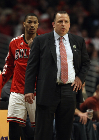 CHICAGO, IL - APRIL 07: Head coach Tom Thibodeau of the Chicago Bulls watches his team as Derrick Rose #1 moves to re-enter a game against the Boston Celtics at United Center on April 7, 2011 in Chicago, Illinois. The Bulls defeated the Celtics 97-81. NOT