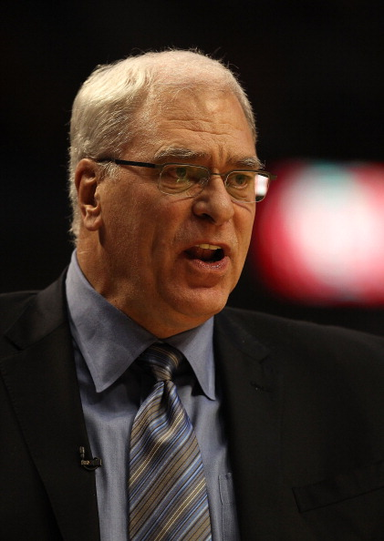 CHICAGO, IL - DECEMBER 10: Head coach Phil Jackson of the Los Angeles Lakers complains to a referee during a game against the Chicago Bulls at the United Center on December 10, 2010 in Chicago, Illinois. The Bulls defeated the Lakers 88-84. NOTE TO USER: