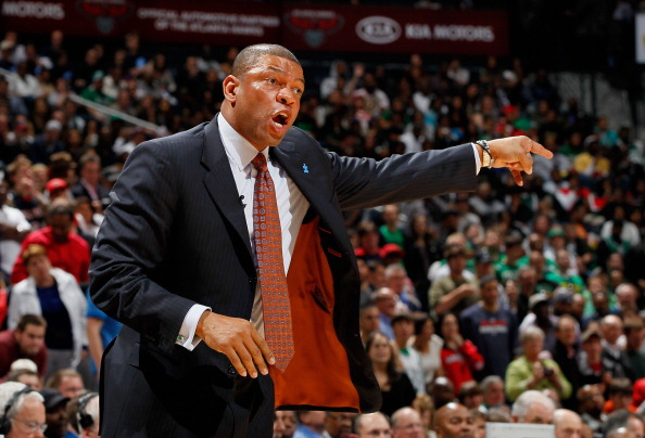 ATLANTA, GA - APRIL 01:  Head coach Doc Rivers of the Boston Celtics against the Atlanta Hawks at Philips Arena on April 1, 2011 in Atlanta, Georgia.  NOTE TO USER: User expressly acknowledges and agrees that, by downloading and/or using this Photograph,