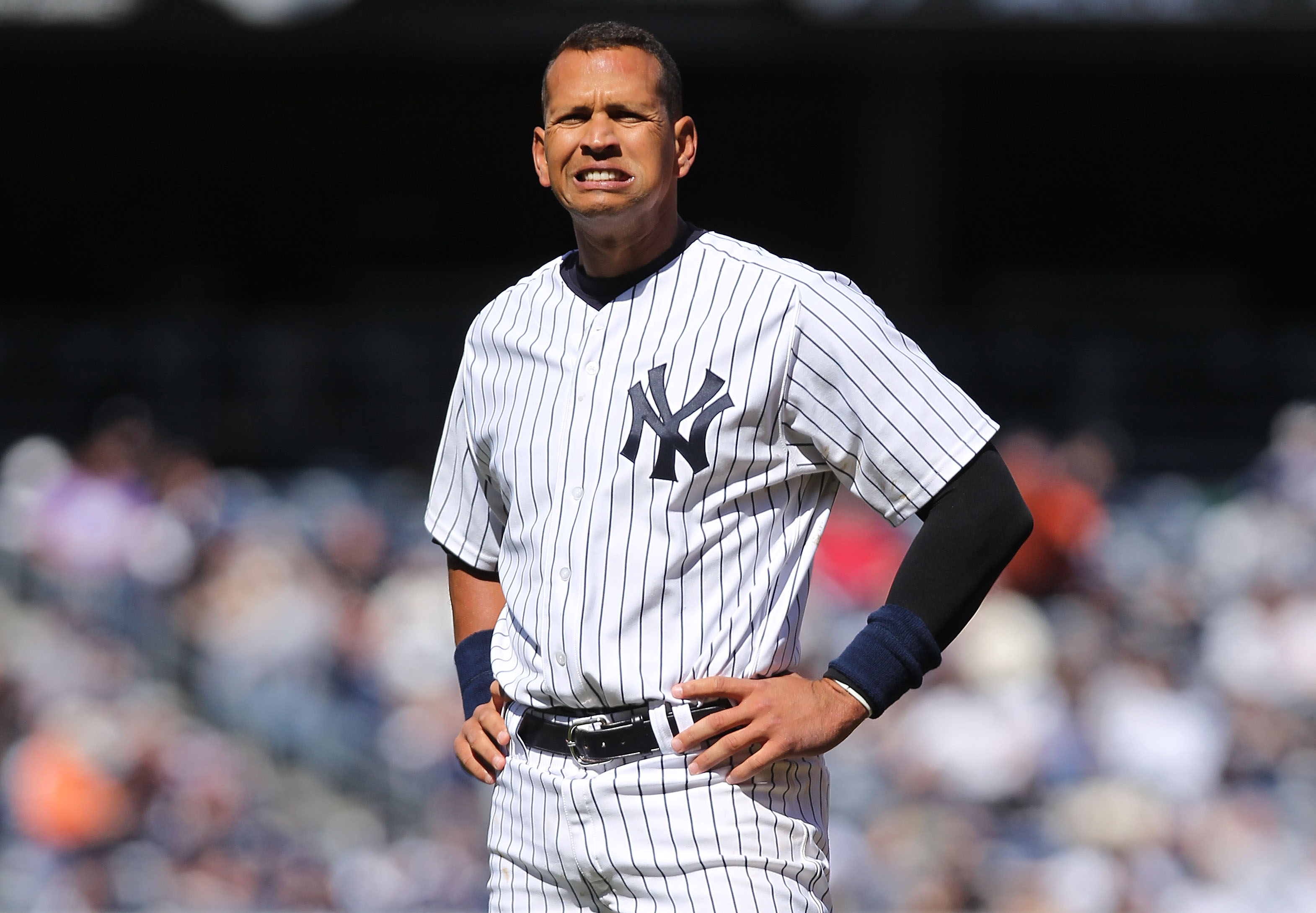 NEW YORK, NY - APRIL 03:  Alex Rodriguez #13 of the New York Yankees against the Detroit Tigers at Yankee Stadium on April 3, 2011 in the Bronx borough of New York City.  (Photo by Nick Laham/Getty Images)