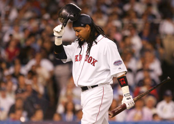 NEW YORK - JULY 15:  American League All-Star Manny Ramirez #24 of the Boston Red Sox after striking out during the 79th MLB All-Star Game at Yankee Stadium on July 15, 2008 in the Bronx borough of New York City.  (Photo by Jim McIsaac/Getty Images)