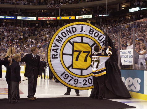 4 Oct 2001:  Ray Bourque #77 of the Boston Bruins uncovers his number during a ceremony in which the Bruins retired his number before their home opener against the Anaheim Mighty Ducks at the Fleet Center in Boston, Massachusetts. <DIGITAL IMAGE>    Manda