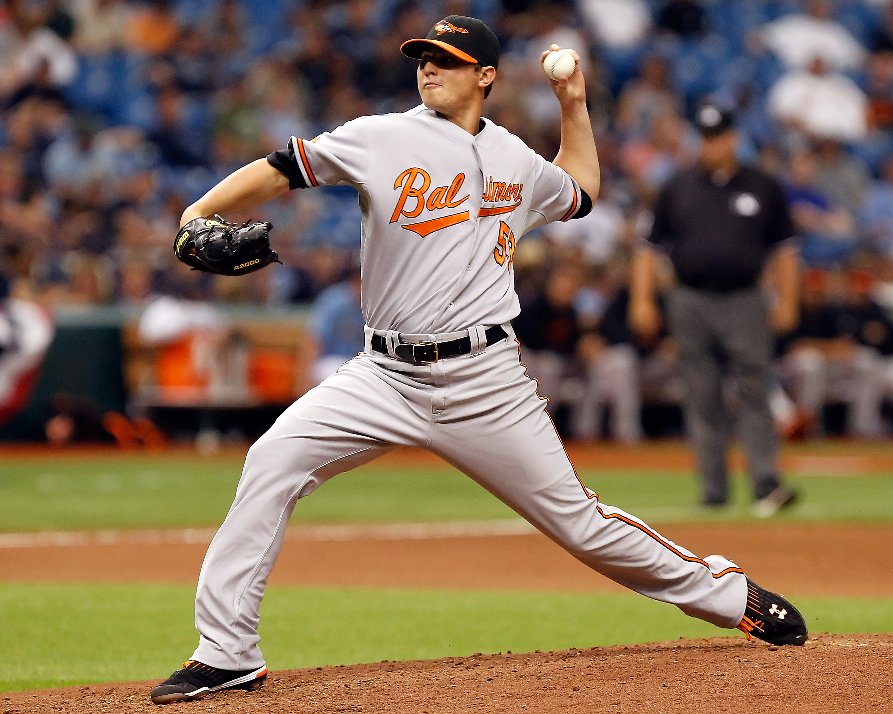 ST PETERSBURG, FL - APRIL 03:   Pitcher Zach Britton #53 of the Baltimore Orioles pitches against the Tampa Bay Rays during the game at Tropicana Field on April 3, 2011 in St. Petersburg, Florida.  (Photo by J. Meric/Getty Images)