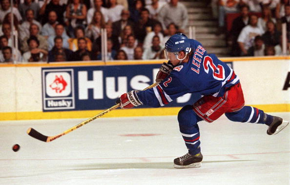 7 JUN 1994: RANGER''S DEFENSEMAN BRIAN LEETCH LAUNCHES A SHOT ON A BREAKAWAY IN THE FIRST PERIOD OF GAME FOUR OF THE STANLEY CUP FINALS AT THE PACIFIC COLISEUM IN VANCOUVER, BRITISH COLUMBIA. LEETCH''S ATTEMPT WAS STOPPED BY CANUCKS GOALTENDER KIRK MCLEAN