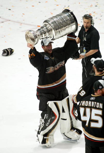 ANAHEIM, CA - JUNE 06:  Goaltender Jean-Sebastien Giguere #35 of the Anaheim Ducks hoists the Stanley Cup after his team's victory over the Ottawa Senators 6-2 in Game Five of the n June 6, 2007 at Honda Center in Anaheim, California.  (Photo by Bruce Ben
