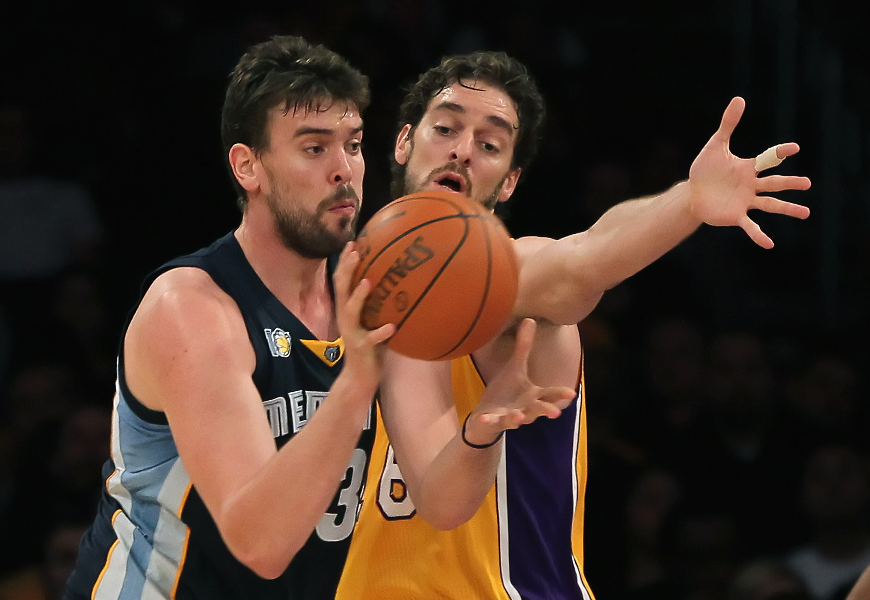 LOS ANGELES, CA - NOVEMBER 02:  Marc Gasol #33 of the Memphis Grizzlies is defended by Pau Gasol #16 of the Los Angeles Lakers during the first quarter at Staples Center on November 2, 2010 in Los Angeles, California. NOTE TO USER: User expressly acknowle