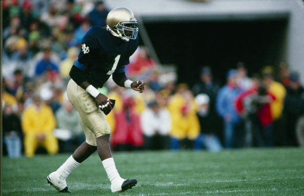 SOUTH BEND, IN - OCTOBER 21:  Todd Lyght #1 of the Notre Dame Fighting Irish lines up for a play during the game against the USC Trojans at Notre Dame Stadium on October 21, 1989 in South Bend, Indiana. (Photo by Stephen Dunn/Getty Images)