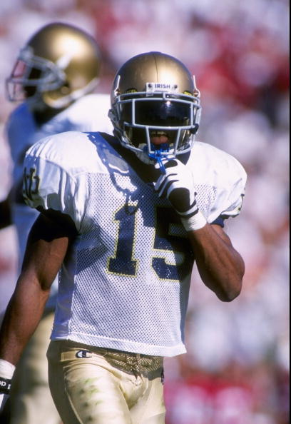 4 Oct 1997:  Defensive back Allen Rossum of the Notre Dame Fighting Irish looks on during a game against the Stanford Cardinal at Stanford Stadium in Palo Alto, California.  Stanford won the game, 33-15. Mandatory Credit: Otto Greule Jr.  /Allsport