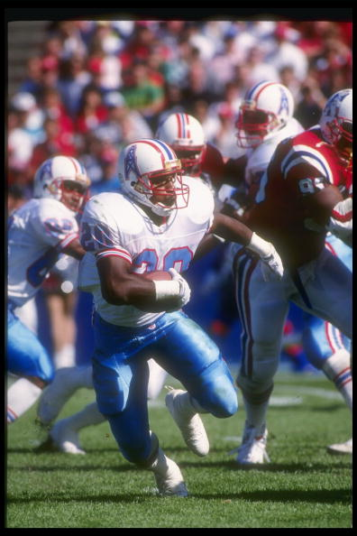 22 Sep 1991:  Running back Allen Pinkett of the Houston Oilers moves the ball during a game against the New England Patriots at Foxboro Stadium in Foxboro, Massachusetts.  The Patriots won the game, 24-20. Mandatory Credit: Rick Stewart  /Allsport