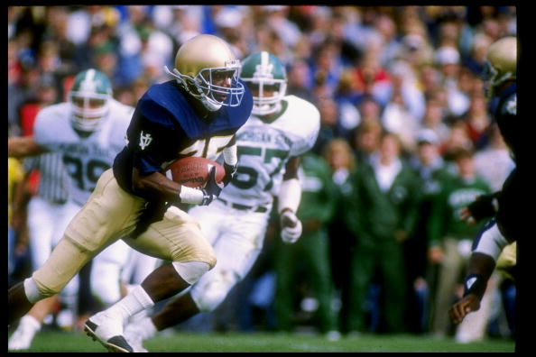23 Sep 1989:  Flanker Raghib Ismail of the Notre Dame Fighting Irish runs down the field during a game against the Michigan State Spartans at Notre Dame Stadium in South Bend, Indiana.  Notre Dame won the game 21-13. Mandatory Credit: Jonathan Daniel  /Al
