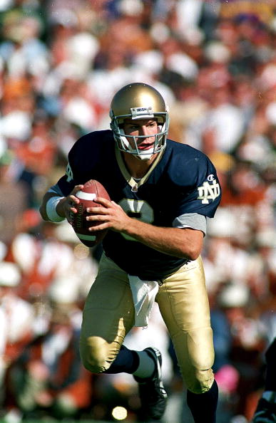 23 Sep 1995:  Ron Powlus #3 of the Notre Dame Fighting Irish runs with the ball during the game against the Texas Longhorns at the Notre Dame Stadium at Notre Dame, Indiana. The Fighting Irish defeated the Longhorns 55-27. Mandatory Credit: J.D. Cuban  /A