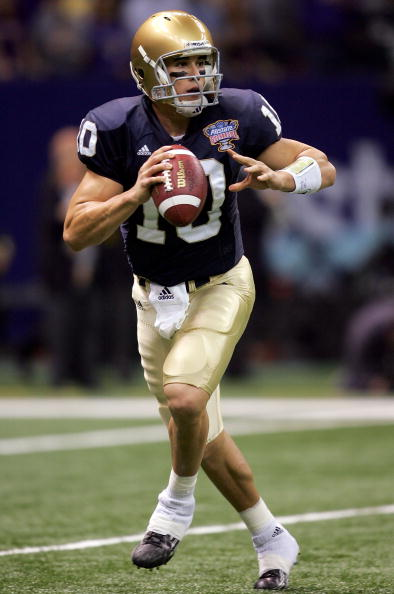 NEW ORLEANS - JANUARY 03:  Quarterback Brady Quinn #10 of the Notre Dame Fighting Irish goes back for a pass during the first quarter of the 2007 Allstate Sugar Bowl against the LSU Tigers on January 3, 2007 at the Superdome in New Orleans, Louisiana.  (P