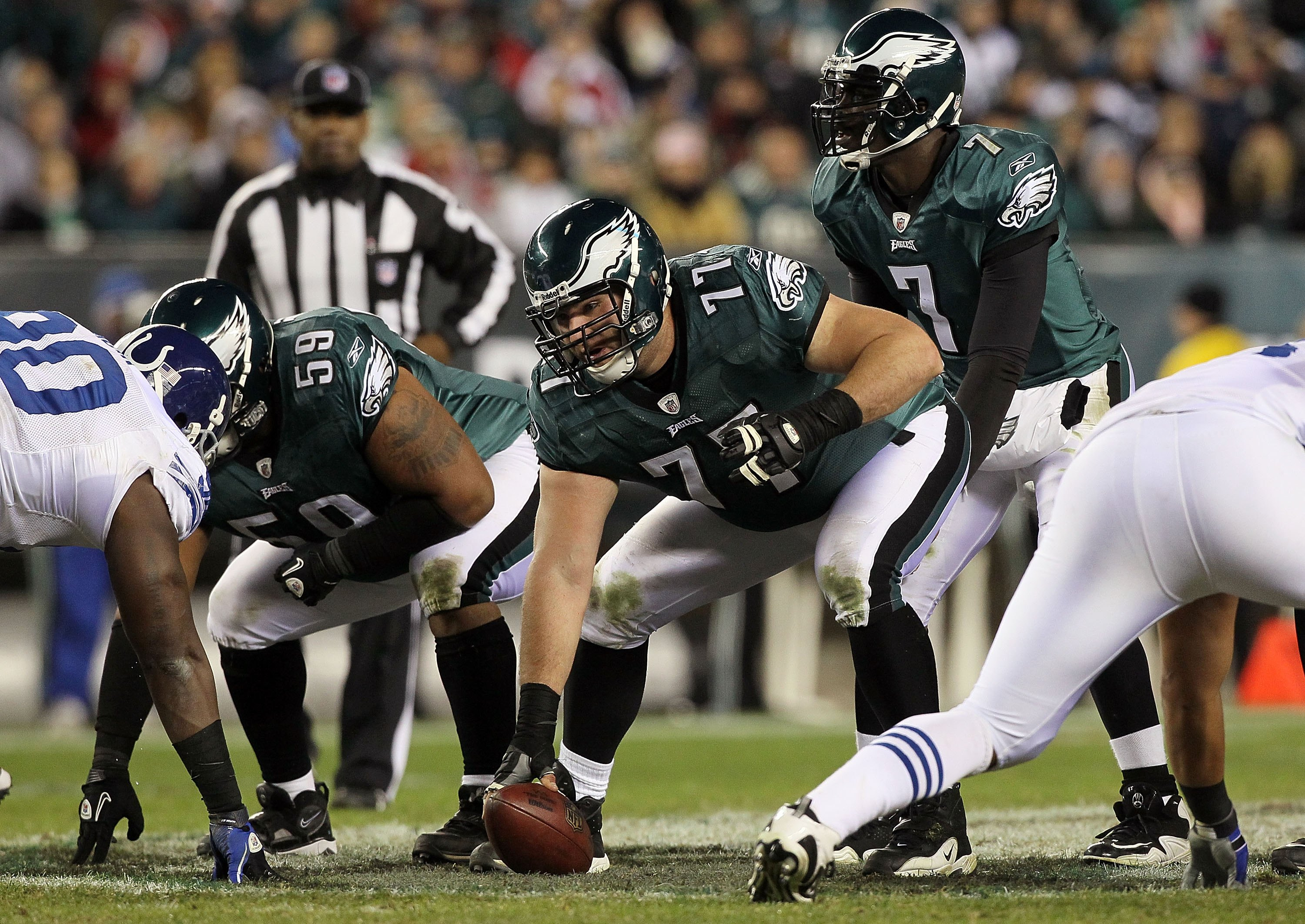 PHILADELPHIA - NOVEMBER 07:  Mike McGlynn #77 of the Philadelphia Eagles against the Indianapolis Colts on November 7, 2010 at Lincoln Financial Field in Philadelphia, Pennsylvania. The Eagles defeated the Colts 26-24.  (Photo by Jim McIsaac/Getty Images)