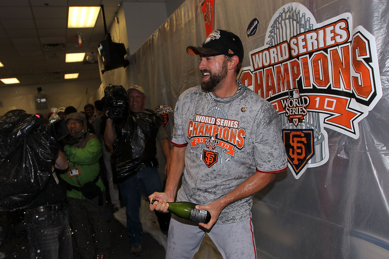 b670bb6eb6eeb9 ARLINGTON, TX - NOVEMBER 01: Jeremy Affeldt of the San Francisco Giants  celebrates in