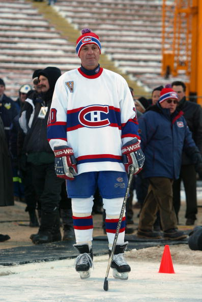 EDMONTON, CANADA - NOVEMBER 22:  Guy Lafleur #10 of the Montreal Canadiens waits to skate onto the ice surface prior to taking on the Edmonton Oilers in the Molson Canadien Heritage Classic Megastars Game on November 22, 2003 at Commonwealth Stadium in Ed