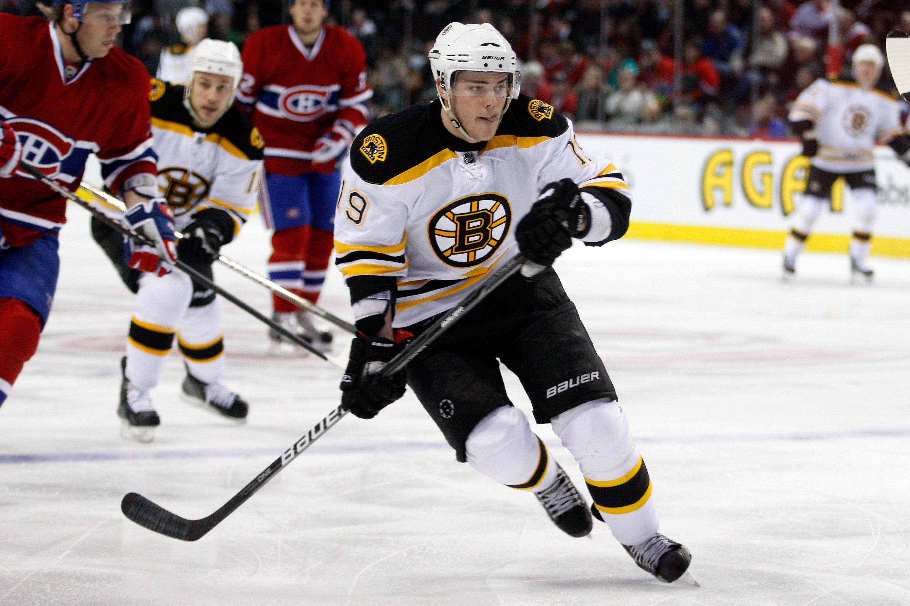 MONTREAL, CANADA - MARCH 8:  Tyler Seguin #19 of the Boston Bruins skates during the NHL game against the Montreal Canadiens at the Bell Centre on March 8, 2011 in Montreal, Quebec, Canada.  The Canadiens defeated the Bruins 4-1.  (Photo by Richard Wolowi