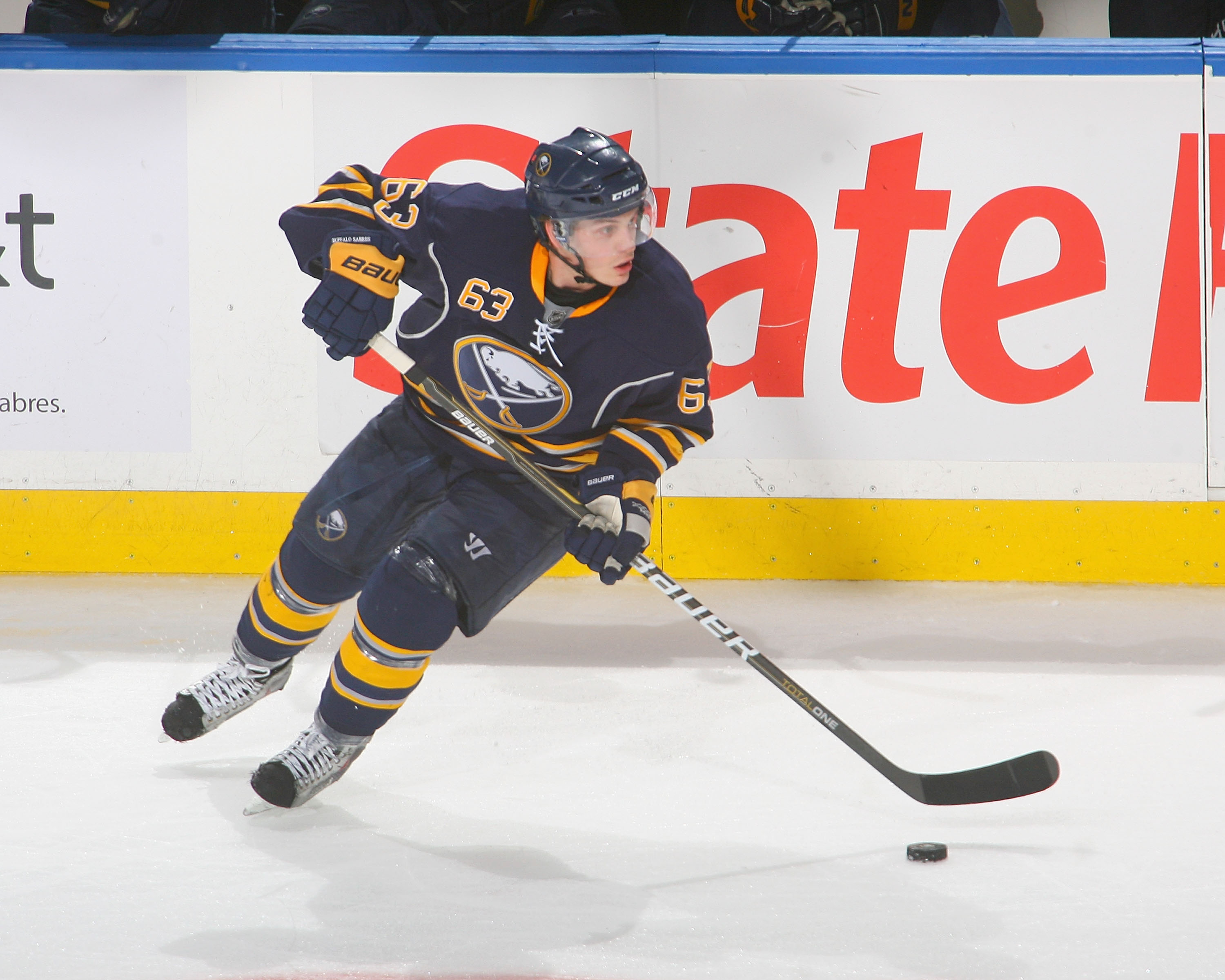 BUFFALO, NY - JANUARY 18: Tyler Ennis #63 of the Buffalo Sabres skates against the Montreal Canadiens at HSBC Arena on January 18, 2011 in Buffalo, New York. Buffalo won 2-1 in overtime.  (Photo by Rick Stewart/Getty Images)