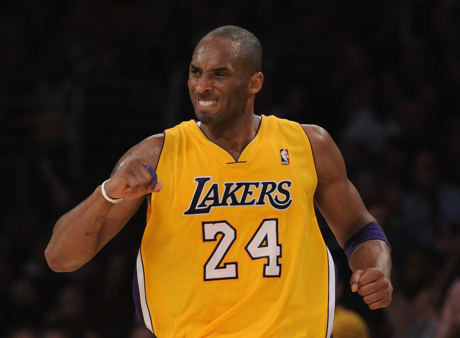 LOS ANGELES, CA - APRIL 12:  Kobe Bryant #24 of the Los Angeles Lakers celebrates his basket during a 102-93 win over the San Antonio Spurs at the Staples Center on April 12, 2011 in Los Angeles, California.  NOTE TO USER: User expressly acknowledges and