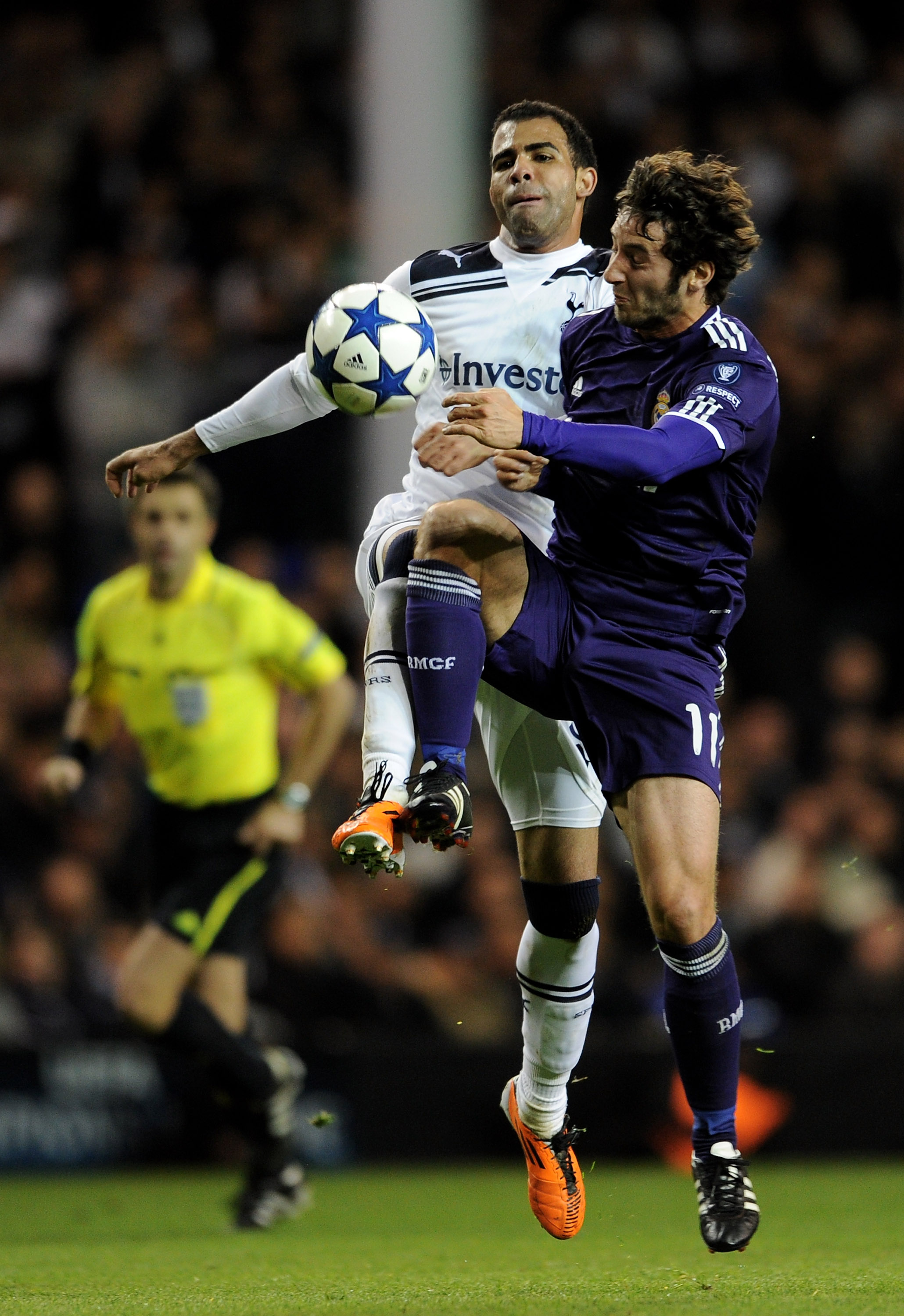 LONDON, ENGLAND - APRIL 13:  Sandro of Spurs fights for the ball with Esteban Granero of Real Madrid during the UEFA Champions League quarter final second leg match between Tottenham Hotspur and Real Madrid at White Hart Lane on April 13, 2011 in London,