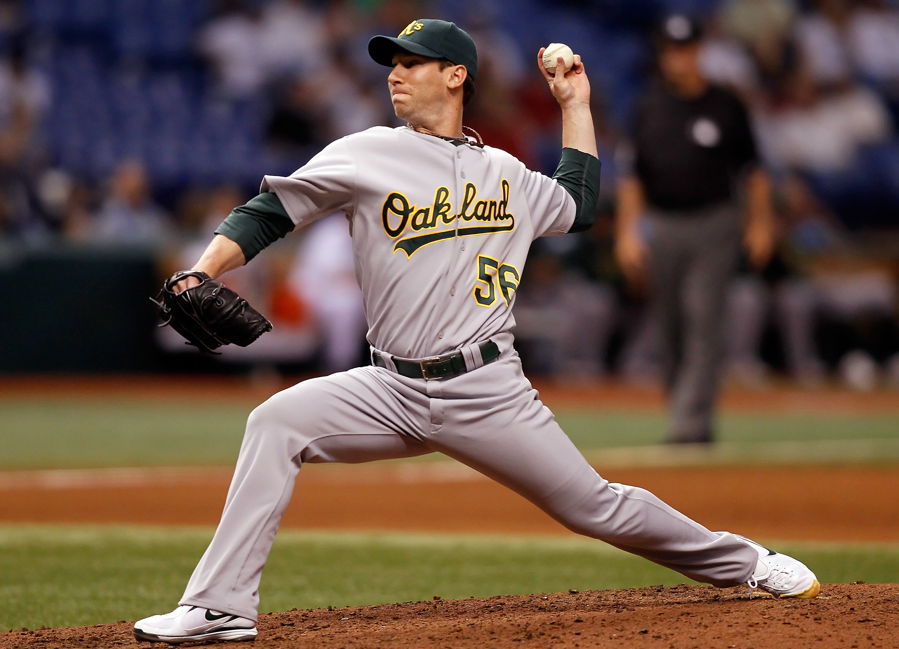 ST. PETERSBURG - APRIL 27:  Pitcher Craig Breslow #56 of the Oakland Athletics pitches against the Tampa Bay Rays during the game at Tropicana Field on April 27, 2010 in St. Petersburg, Florida.  (Photo by J. Meric/Getty Images)
