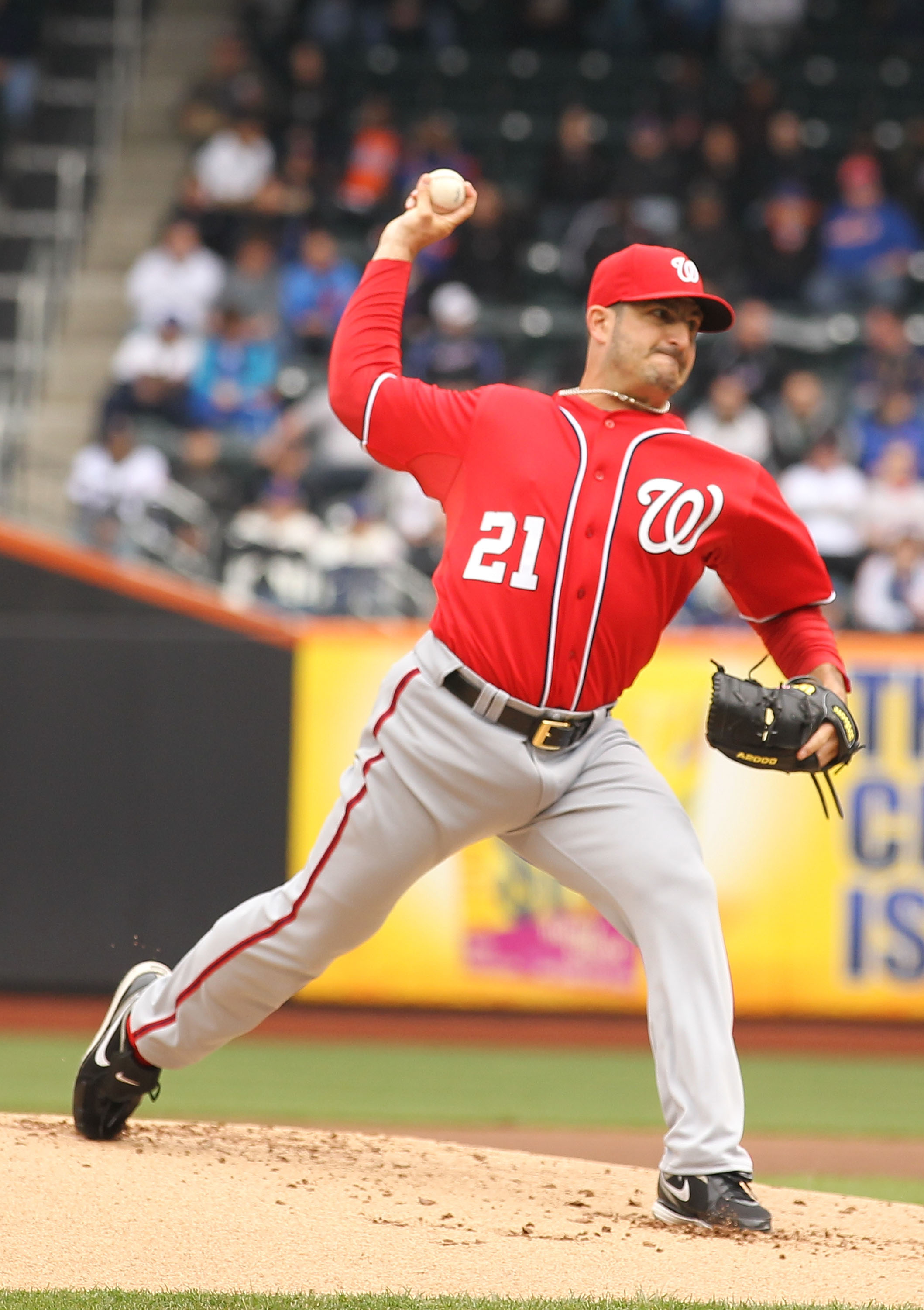 NEW YORK, NY - APRIL 10:  Jason Marquis #21 of the Washington Nationals in action against the New York Mets during their game on April 10, 2011 at Citi Field in the Flushing neighborhood of the Queens borough of New York City.  (Photo by Al Bello/Getty Im