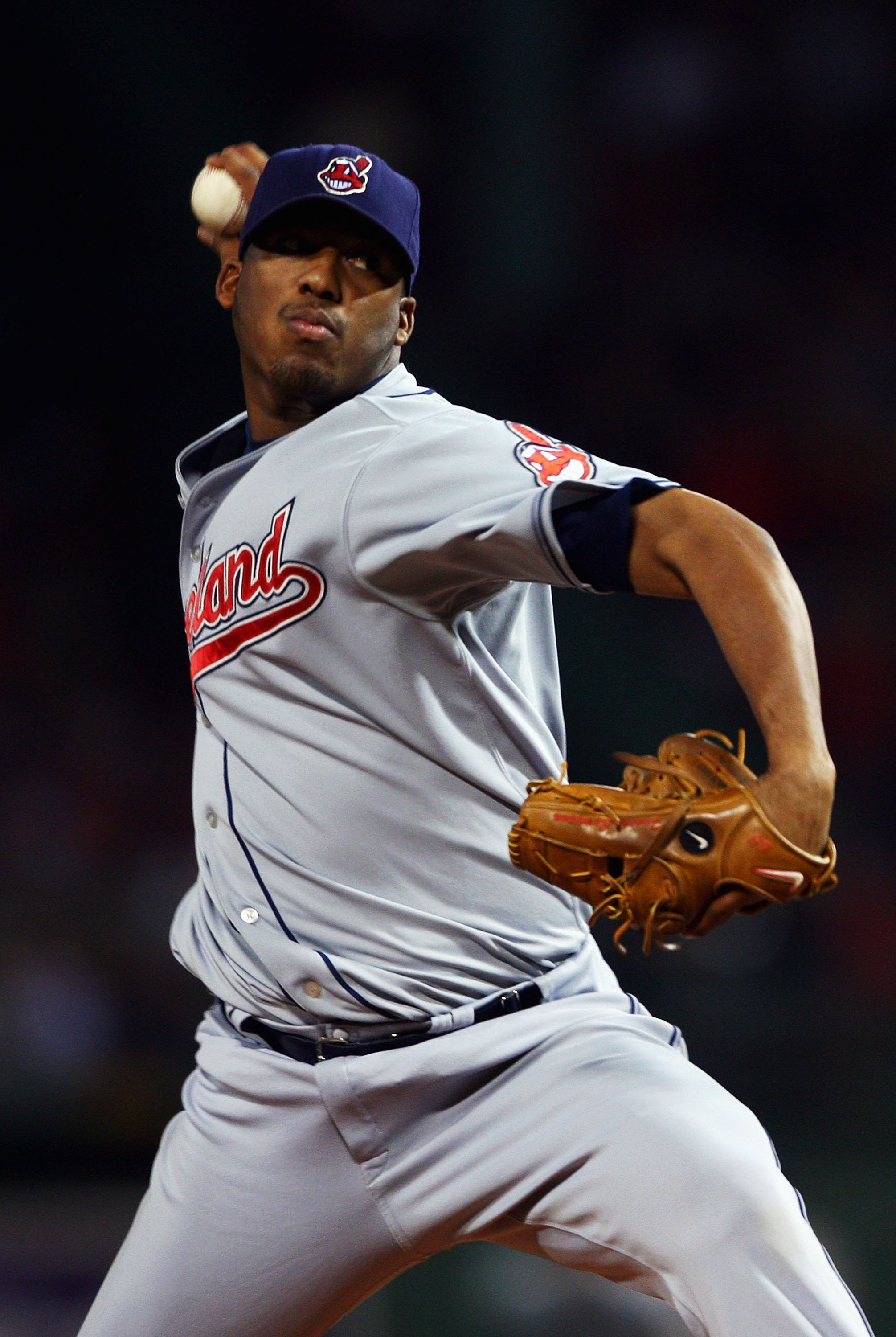 BOSTON - OCTOBER 13:  Starting pitcher Fausto Carmona #55 of the Cleveland Indians pitches of the Boston Red Sox during Game Two of the American League Championship Series at Fenway Park on October 13, 2007 in Boston, Massachusetts.  (Photo by Elsa/Getty