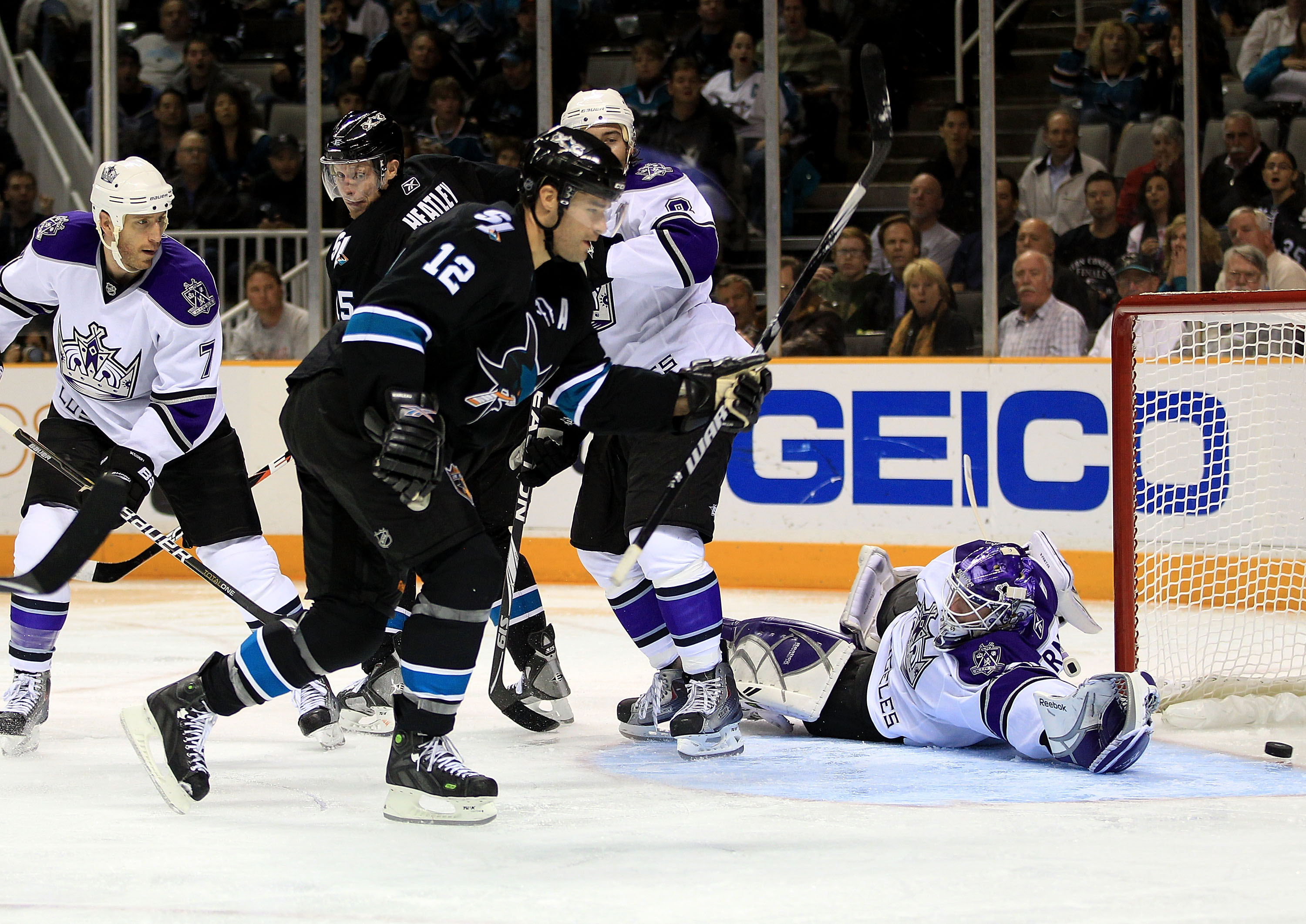 SAN JOSE, CA - NOVEMBER 15:  Patrick Marleau #12 of the San Jose Sharks scores a goal past a diving Jonathan Bernier #45 of the Los Angeles Kings at HP Pavilion on November 15, 2010 in San Jose, California.  (Photo by Ezra Shaw/Getty Images)