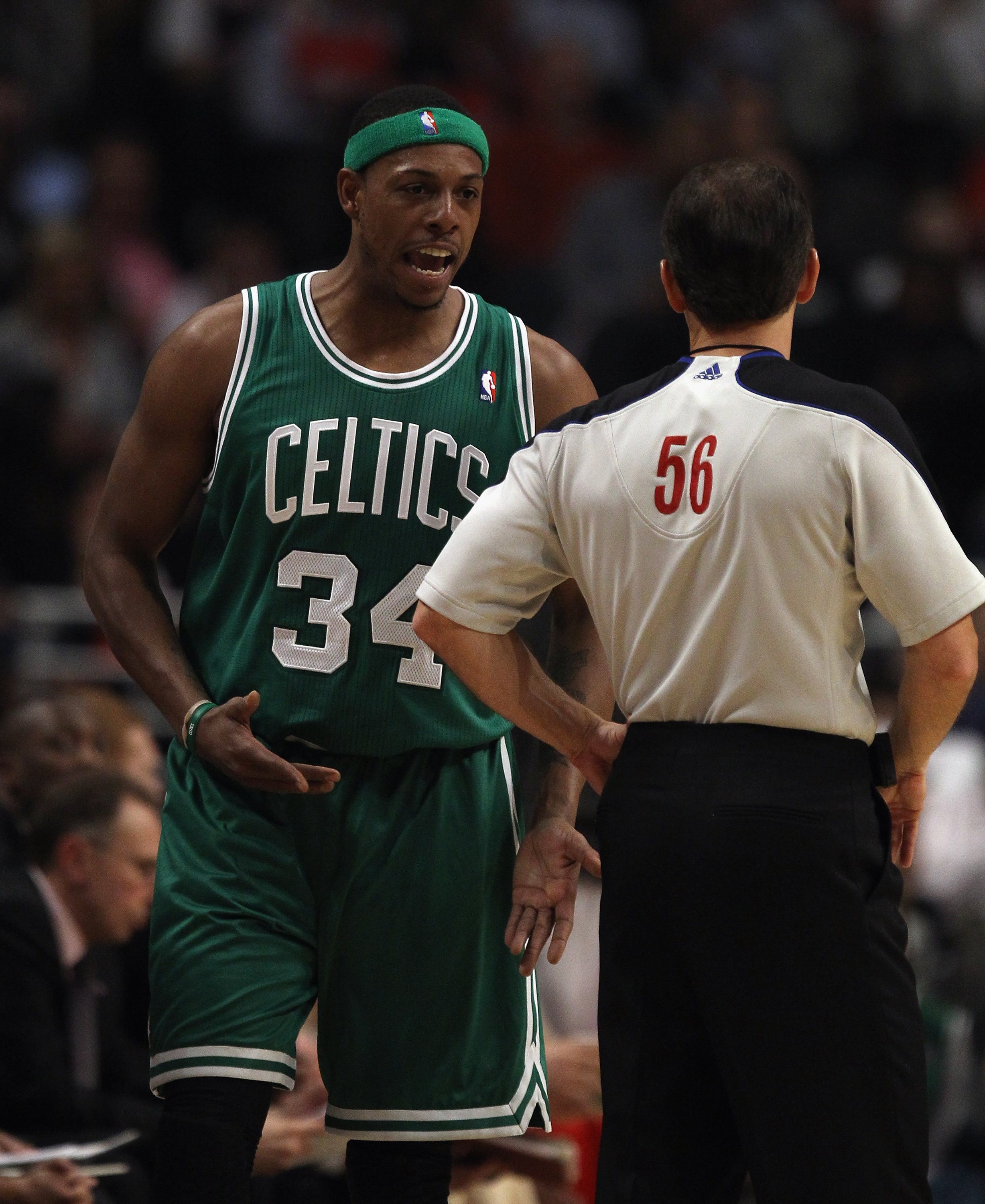 CHICAGO, IL - APRIL 07: Paul Pierce #34 of the Boston Celtics earns a technical foul for yelling at referee Mark Ayotte #56 during a game against the Chicago Bulls at United Center on April 7, 2011 in Chicago, Illinois. NOTE TO USER: User expressly acknow