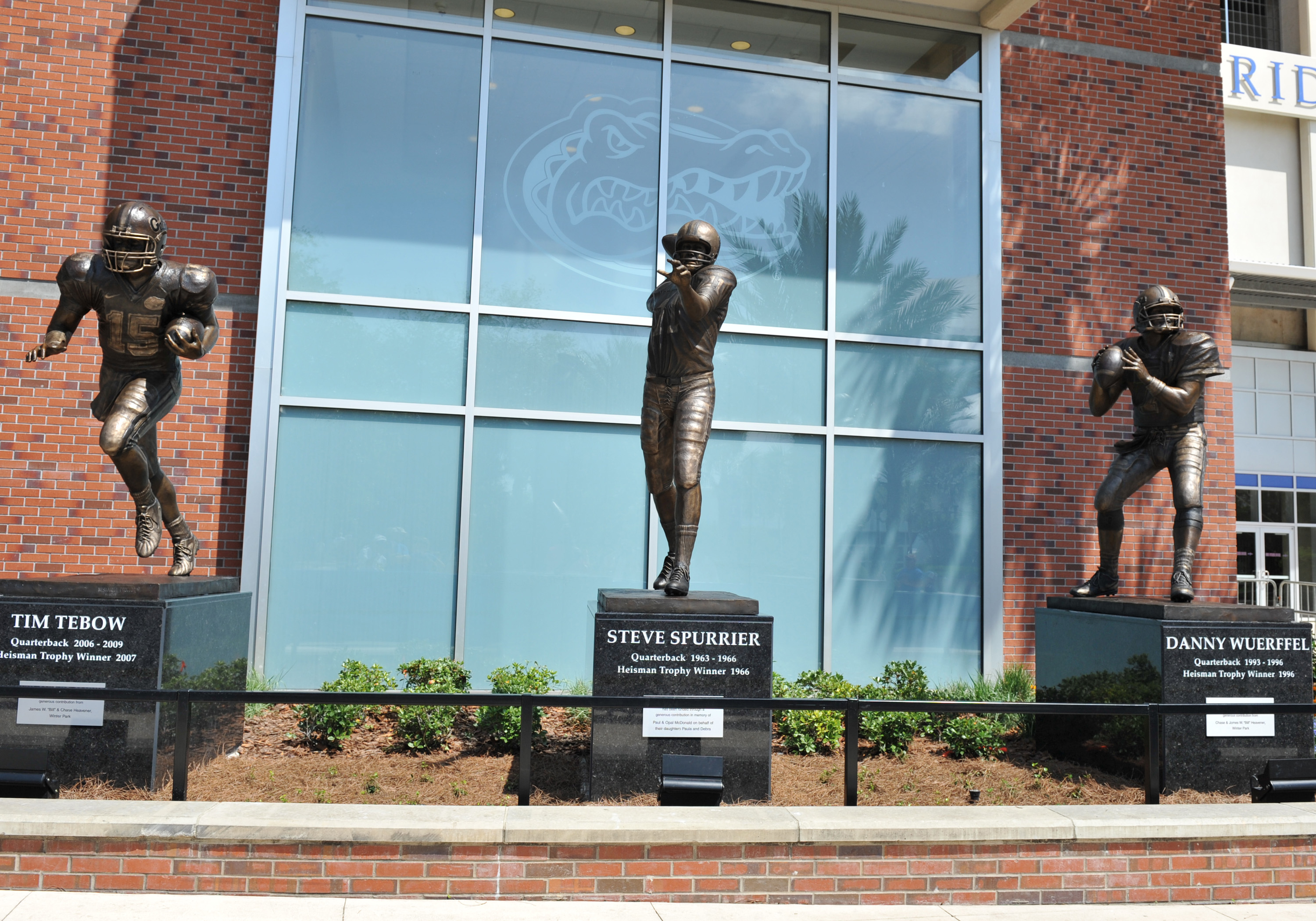 Steve Spurrier, Danny Wuerffel and Tim Tebow have been immortalized outside Florida Field.